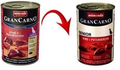 ANIMONDA Grancarno Senior příchuť: Hovězí a krůtí srdce 400g