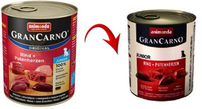 ANIMONDA Grancarno konzerva Junior hovězí + krůtí srdce 800g