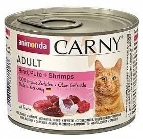 Animonda Cat Carny Adult příchuť: hovězí maso, krůta a krevety 200g