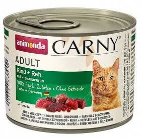 Animonda Cat Carny Adult příchuť: srnčí a borůvky 200g