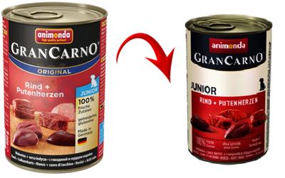 Animonda GranCarno Junior příchuť: hovězí + krůtí srdce 400g